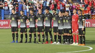 Los jugadores del Extremadura en el partido ante el Mallorca.