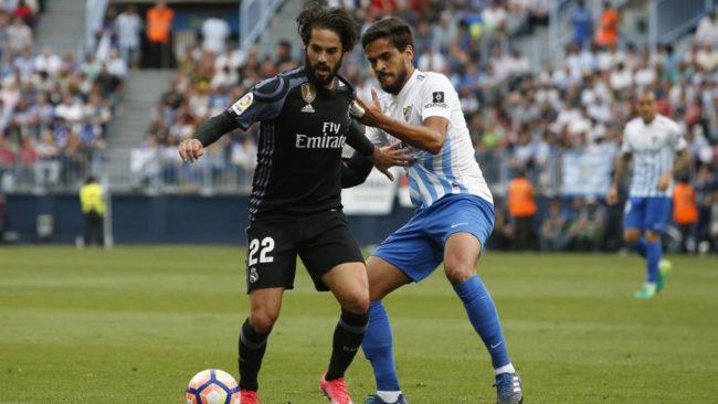 Recio, en el Málaga-Real Madrid de 2017.