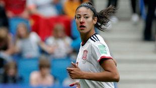 Leila Ouahabi durante un partido con la selección en el Mundial.