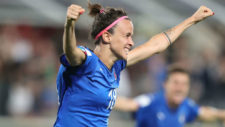 Barbara Bonansea celebra un gol.
