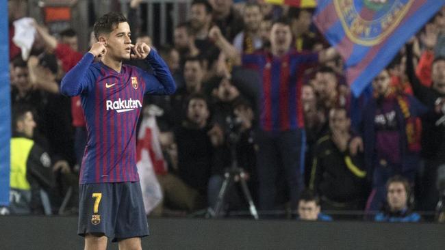 Coutinho celebra un gol al Mancester United.