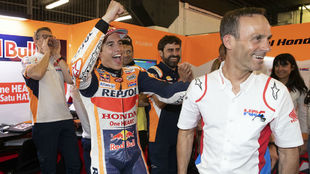 Puig y Márquez, celebrando la victoria en Montmeló.