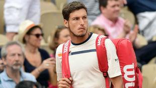 Carreño, durante su partido con Paire en Roland Garros