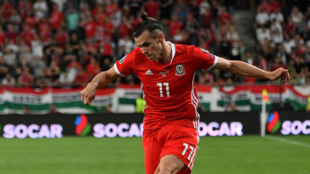 Bale playing for Wales.