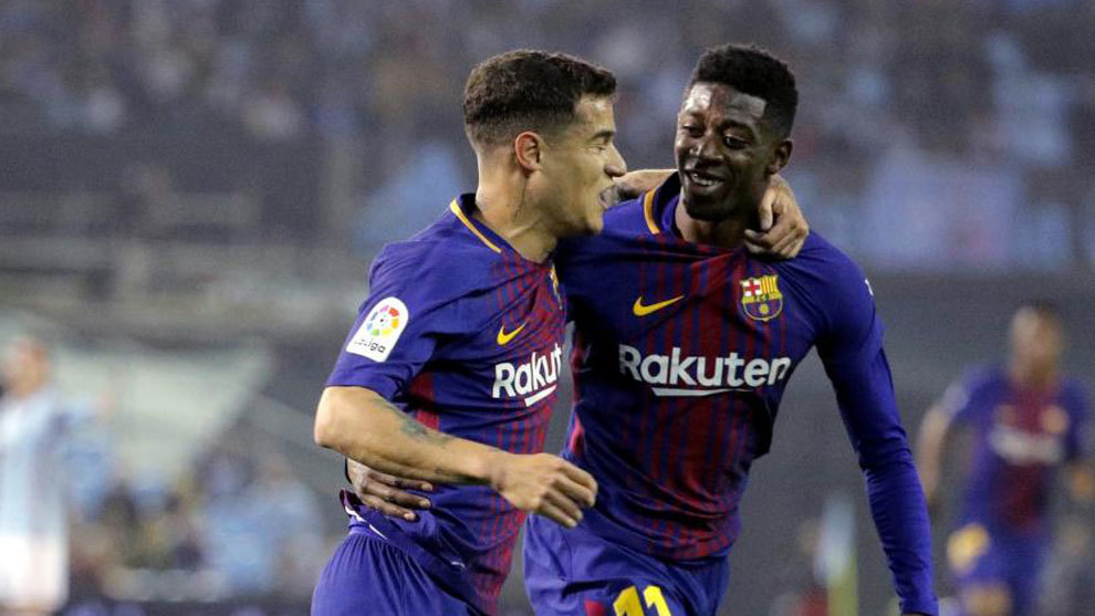 Philippe Coutinho and Ousmane Dembele celebrating together for...