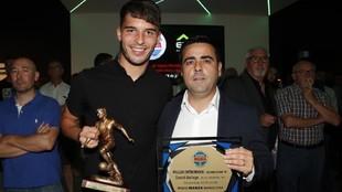 Lluís López y David Gallego, tras recoger el premio de Radio MARCA