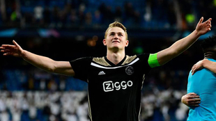 De Ligt celebrates at the Bernabeu.