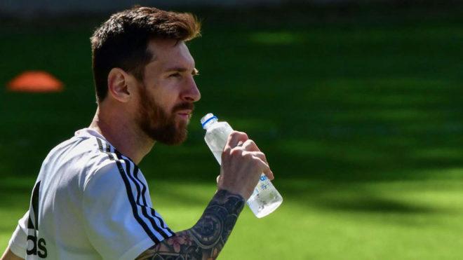 Messi, durante el entrenamiento de Argentina.
