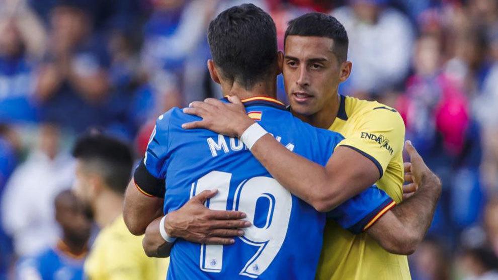 Jorge Molina and Ramiro Funes Mori embracing after Getafe vs...