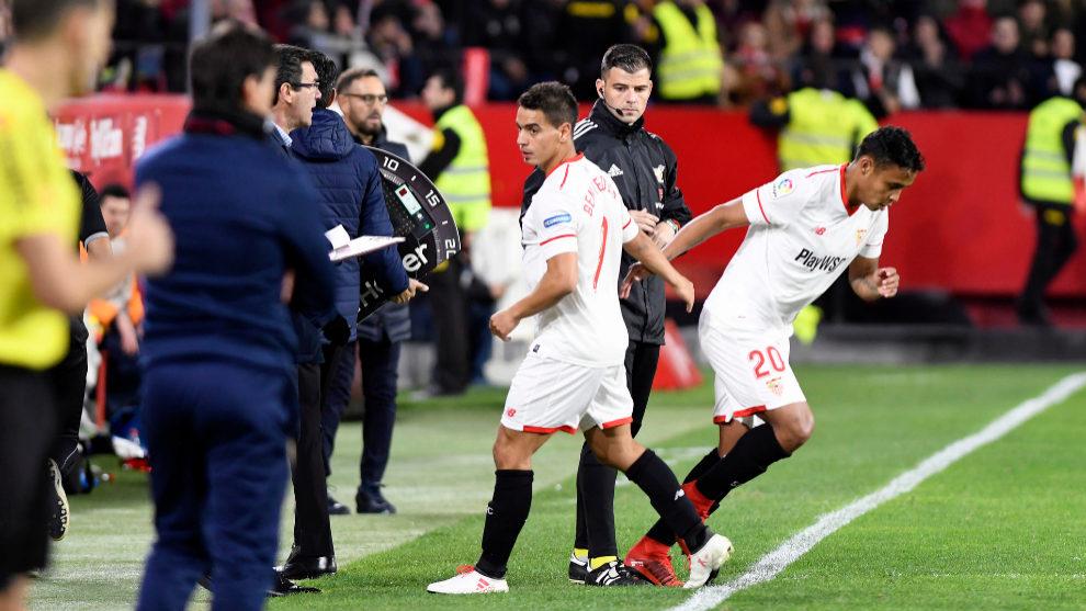 Muriel sustituye a Ben Yedder en un partido del Sevilla.