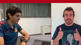 Vallejo ve el vídeo en el que Alonso les anima.