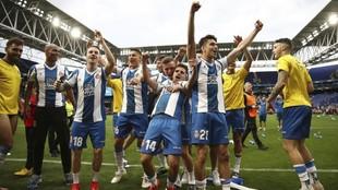 La plantilla del Espanyol, tras lograr la clasificación para la...