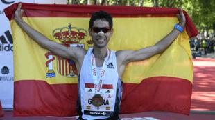 Javi Guerra tras acabar el pasado Maratón de Madrid.