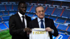 Ferland Mendy and Florentino Perez during the left-back's...