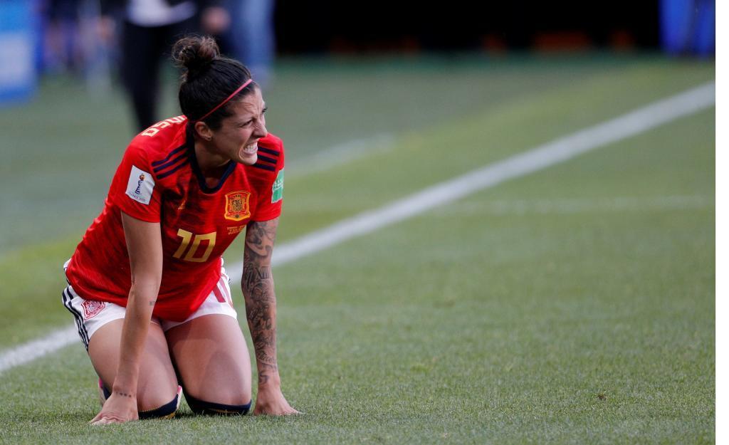 Jenni Hermoso lamenta una ocasión fallada ante Alemania.