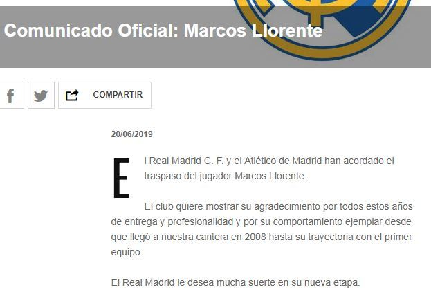 Marcos Llorente completes move to Atletico Madrid from Real Madrid