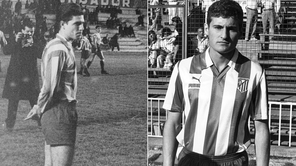Ramon Grosso and Paco Llorente wearing Atletico Madrid's shirt.