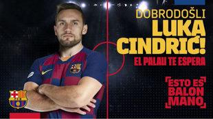 Cartel del fichaje del croata Luka Cindric por el Barça /