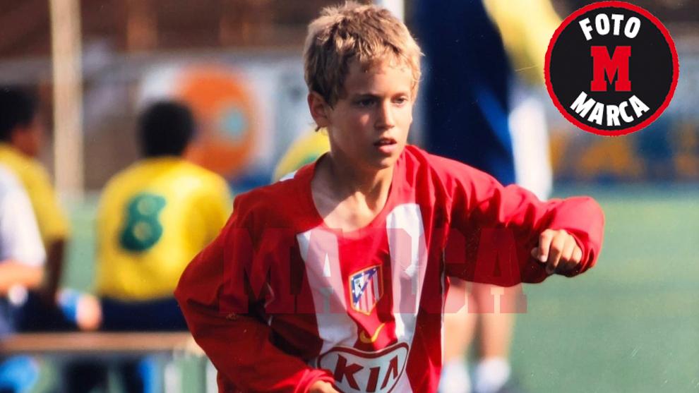 Marcos Llorente, con la camiseta del Atlético siendo alevín
