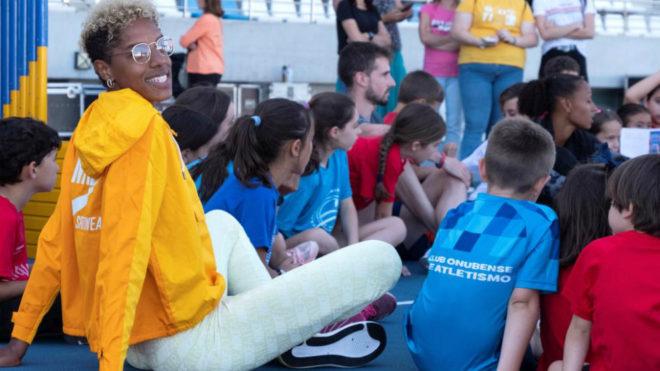 Yulimar Rojas durante una acto con niños en Huelva un día antes de...