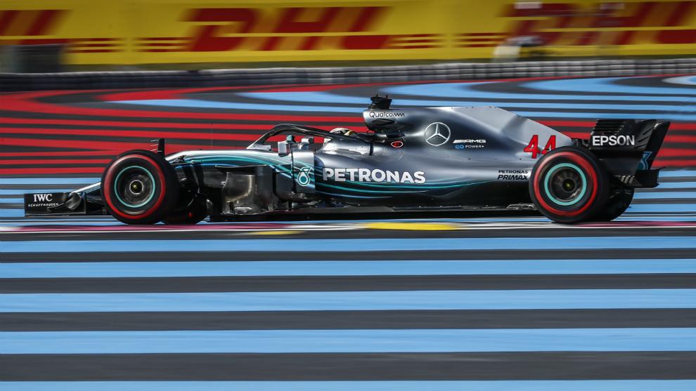 Lewils Hamilton en el circuito de Paul Ricard en el GP de Francia de...