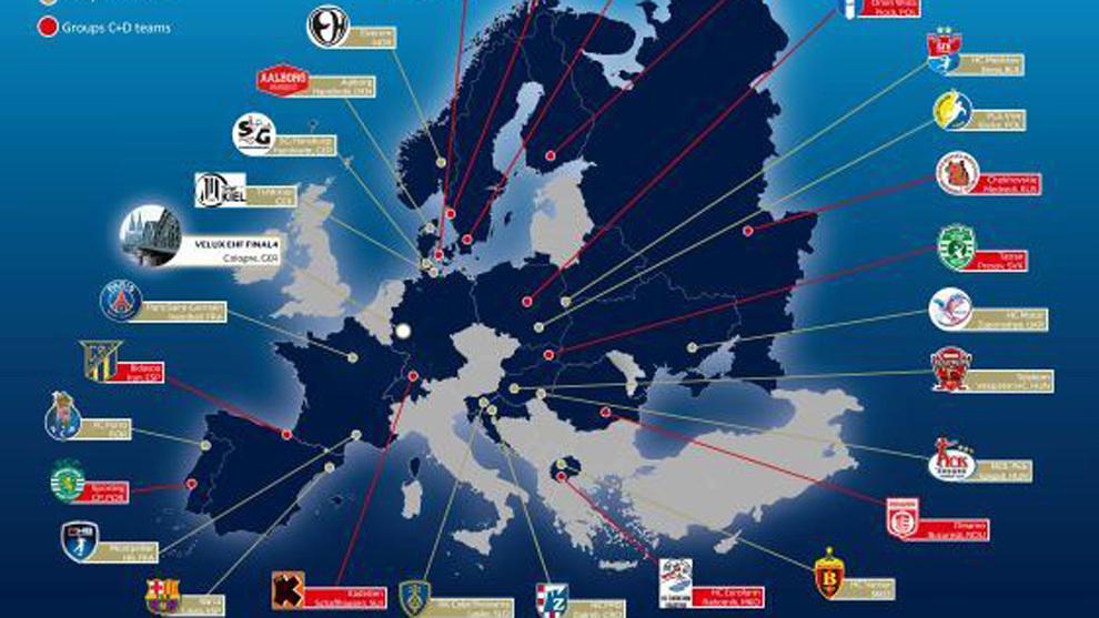 Cartel con los 28 clubes que disputarán la próxima Champions /