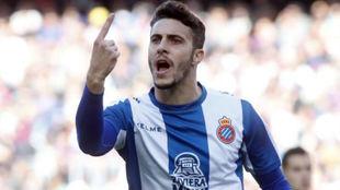 Hermoso celebra un gol del Espanyol.