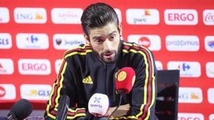 Yannick Carrasco, en sala de prensa con Bélgica.
