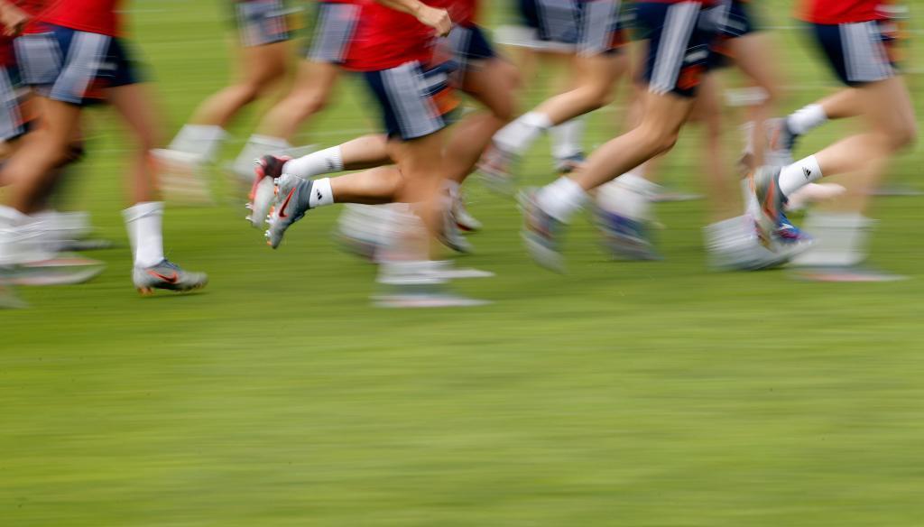 Las jugadoras de la selección española durante un entrenamiento en...
