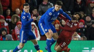 Maguire deja atrás a Salah en un Liverpool-Leicester.