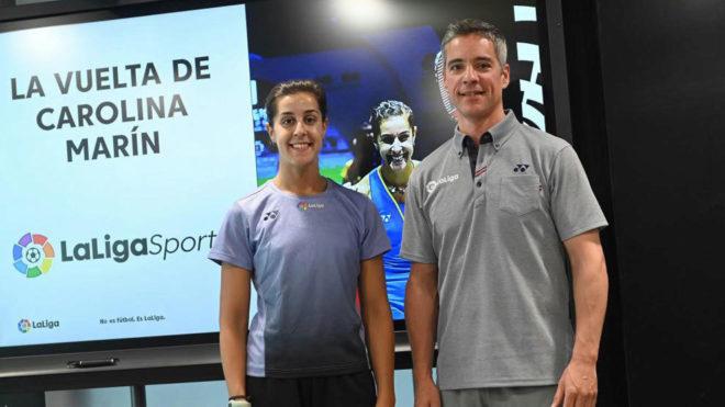 Carolina Marín y Fernando Rivas, en LaLigaSports.