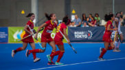 Las jugadoras españolas celebran un gol durante un partido
