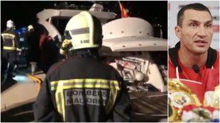 Los bomberos, en el momento del rescate; Klitschko, en rueda de prensa
