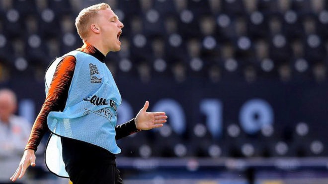 Donny van de Beek during a training session with the Dutch national...