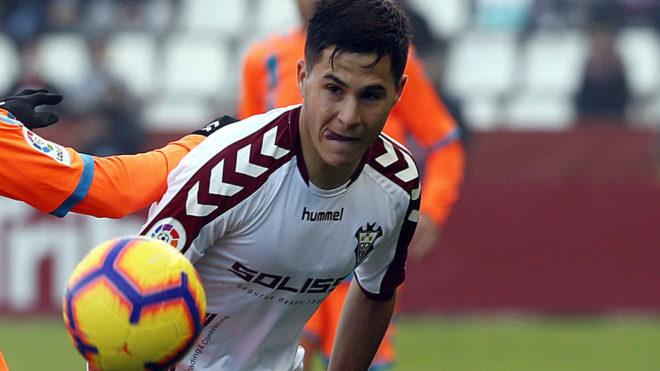 Álvaro Tejero, durante un partido de esta temporada con el Albacete.