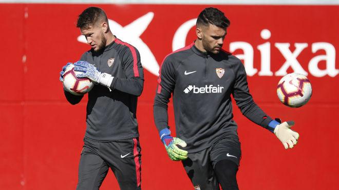 Vaclik y Juan Soriano, en un entrenamiento.