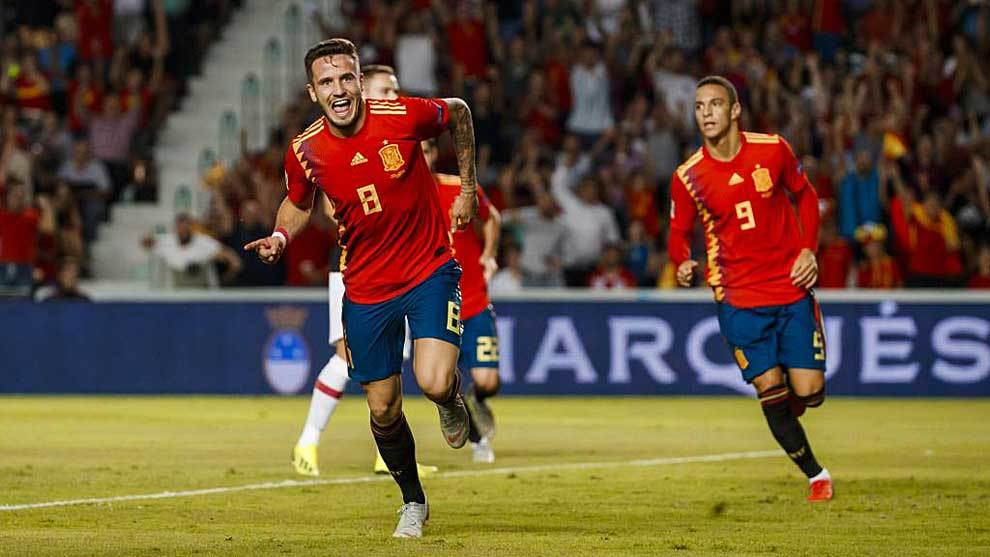 Saul Niguez celebrating his goal for Spain against Croatia at the...