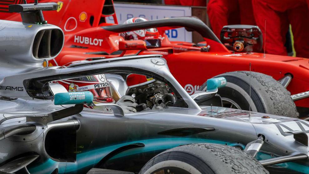 Hamilton y Leclerc, al terminar el Gran Premio de Francia.
