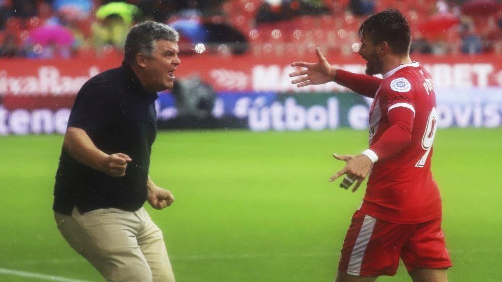 Portu dedica un gol a su segundo entrenador en el Girona, Onésimo.