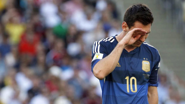 Lionel Messi crying with sadness after the World Cup final in 2014.