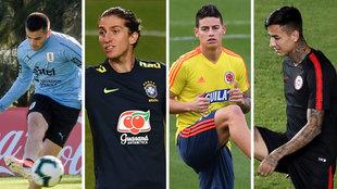 Maxi Gómez, Filipe Luis, James y Pular, entrenando con sus...