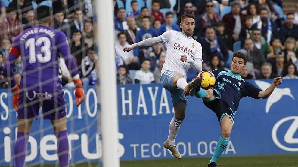 Álvaro Benito, en el partido de esta temporada ante el Albacete en La...