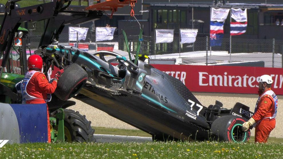 Así quedó el coche de Bottas, tras el accidente en Austria.