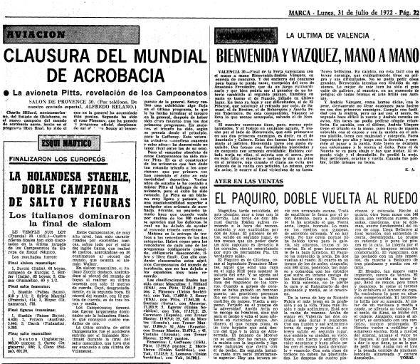 Relaño cubrió para MARCA el Mundial de acrobacia aérea de 1972 en...