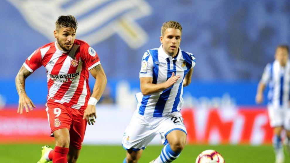 Portu, en el Real-Girona jugado en Anoeta en la pasada Liga.