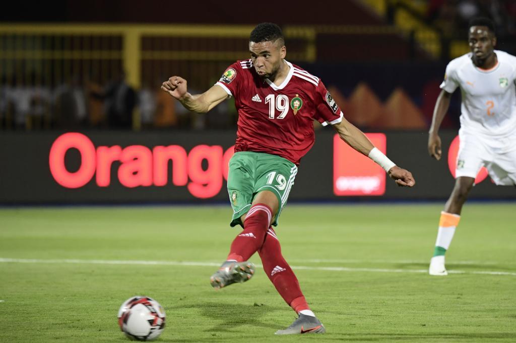 Youssef En-Nesyri marca el 1-0 de Marruecos.