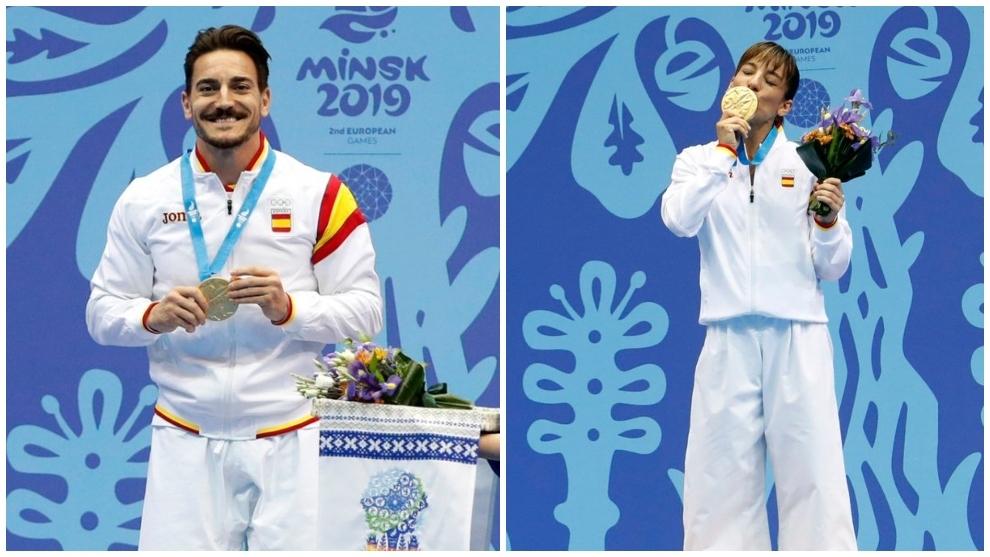 Damián Quintero y Sandra Sánchez, en el podio.