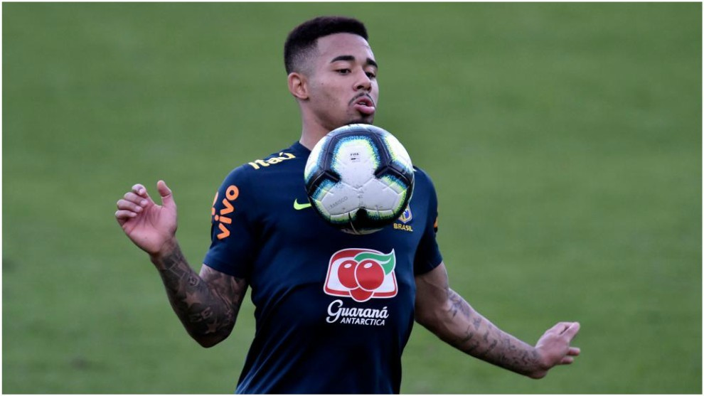 Gabriel Jesus during a training session with Brazil.