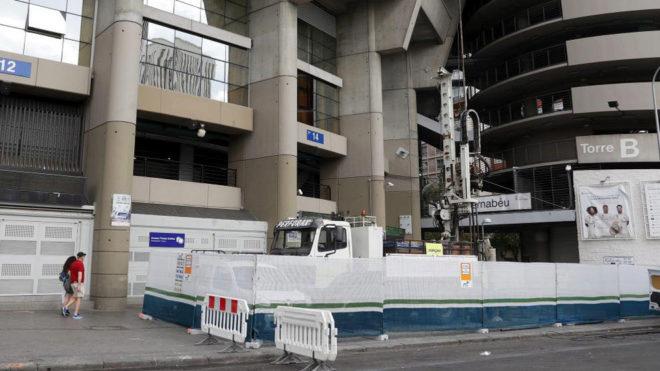 The Santiago Bernabeu under construction.