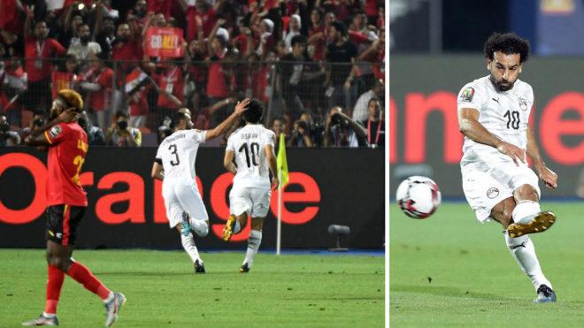 A la derecha, Salah dispara la falta. A la izquierda, celebra su gol.